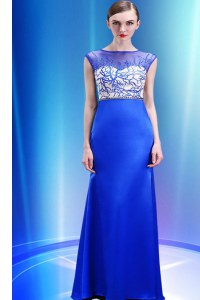 Decent Scoop Floor Length Zipper Prom Dresses Royal Blue for Prom and Party with Beading and Appliques