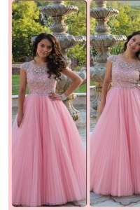 Wonderful Scoop Baby Pink Zipper Evening Dresses Beading Cap Sleeves Floor Length
