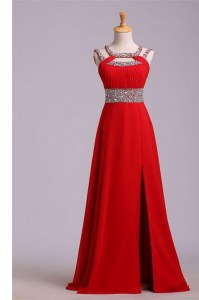 Graceful Halter Top Red Sleeveless Beading and Belt Floor Length Dress for Prom