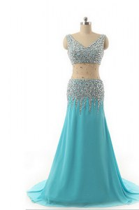 Delicate Sleeveless Chiffon Asymmetrical Zipper Prom Party Dress in Aqua Blue with Beading