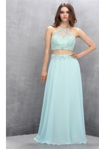 Eye-catching Tulle Halter Top Sleeveless Sweep Train Zipper Beading Womens Evening Dresses in Light Blue