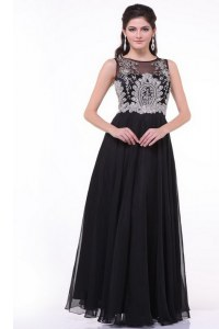 Black Chiffon Zipper Scoop Sleeveless Floor Length Prom Gown Beading and Appliques and Ruching