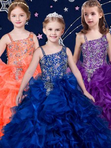 Organza Sleeveless Kids Pageant Dress and Beading and Ruffles