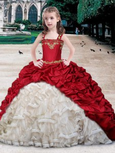 Custom Design Straps Sleeveless Casual Dresses Floor Length Beading and Appliques and Ruffles and Pick Ups White and Wine Red Organza and Taffeta