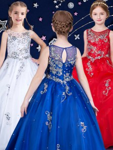 Scoop Sleeveless Kids Pageant Dress Floor Length Beading White and Red and Royal Blue Organza