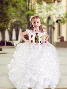 Dazzling White Spaghetti Straps Neckline Beading and Appliques and Ruffles Flower Girl Dresses Cap Sleeves Lace Up