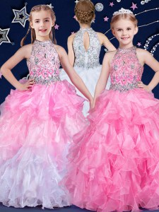 Latest Halter Top White and Pink And White Sleeveless Organza Zipper Little Girl Pageant Dress for Quinceanera and Wedding Party