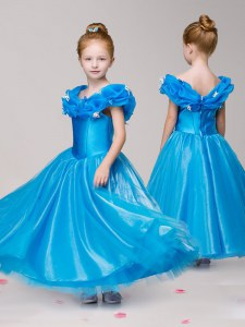 Off the Shoulder Cap Sleeves Tulle Ankle Length Zipper Flower Girl Dresses in Blue with Appliques