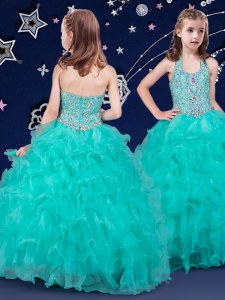 Sweet Halter Top Beading and Ruffles Little Girls Pageant Dress Turquoise Zipper Sleeveless Floor Length