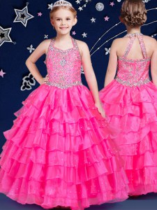 Lovely Halter Top Sleeveless Floor Length Beading and Ruffled Layers Zipper Pageant Gowns For Girls with Hot Pink