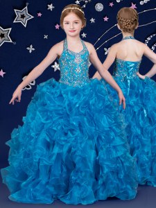 Halter Top Blue Sleeveless Floor Length Beading and Ruffles Lace Up Child Pageant Dress
