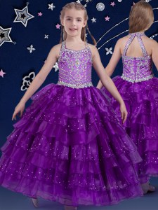Excellent Halter Top Sleeveless Floor Length Beading and Ruffled Layers Zipper Little Girls Pageant Gowns with Eggplant Purple