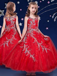 Lovely Scoop Sleeveless Zipper Little Girls Pageant Gowns Red Organza