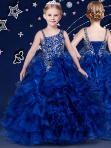 Floor Length Royal Blue Little Girl Pageant Gowns Organza Sleeveless Beading and Ruffled Layers