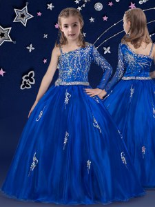 Ball Gowns Kids Pageant Dress Royal Blue Bateau Organza Sleeveless Floor Length Zipper