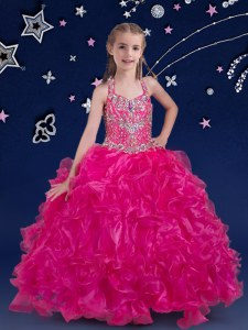 Fuchsia Ball Gowns Organza Halter Top Sleeveless Beading and Ruffles Floor Length Lace Up Casual Dresses