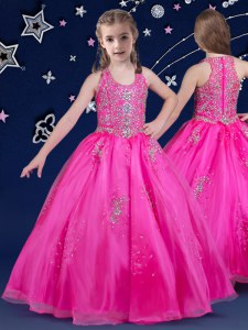 Classical Scoop Floor Length Zipper Little Girls Pageant Dress Fuchsia for Quinceanera and Wedding Party with Beading