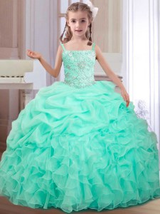Affordable Straps Sleeveless Custom Made Floor Length Beading and Ruffles and Pick Ups Apple Green Organza