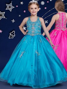 Scoop Blue Ball Gowns Beading Pageant Gowns For Girls Zipper Organza Sleeveless Floor Length