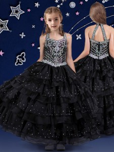 Halter Top Sleeveless Floor Length Beading and Ruffled Layers Zipper Party Dress Wholesale with Black