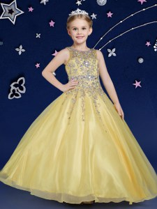 Best Scoop Gold Sleeveless Organza Zipper Party Dress Wholesale for Quinceanera and Wedding Party