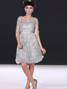 Beauteous Silver Zipper Bateau Beading and Lace Homecoming Party Dress Chiffon 3 4 Length Sleeve