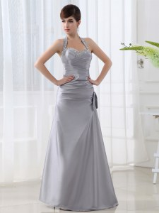 Discount Grey A-line Satin Halter Top Sleeveless Beading and Ruching Floor Length Lace Up Prom Evening Gown