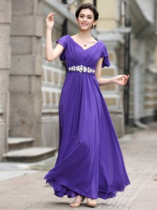 Purple Column/Sheath V-neck Cap Sleeves Chiffon Ankle Length Zipper Beading and Appliques and Ruching Prom Party Dress