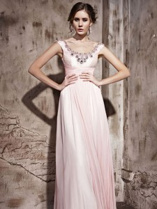 Colorful Scoop Baby Pink Column/Sheath Beading Dress for Prom Backless Chiffon Sleeveless Floor Length