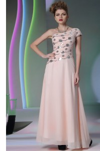 Pretty Baby Pink Empire One Shoulder Cap Sleeves Chiffon Floor Length Side Zipper Beading and Appliques Prom Homecoming Dress