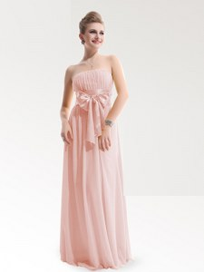 Artistic Sleeveless Chiffon Floor Length Zipper Evening Dress in Baby Pink with Ruching and Bowknot