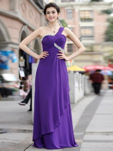 Luxury One Shoulder Sleeveless Chiffon Homecoming Dress Beading Zipper