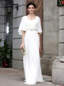 Square Half Sleeves Zipper Prom Gown White Chiffon