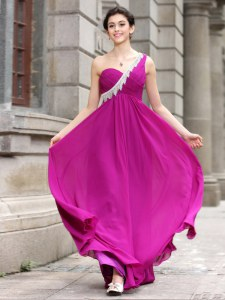 One Shoulder Floor Length Zipper Prom Gown Fuchsia for Prom and Party with Beading