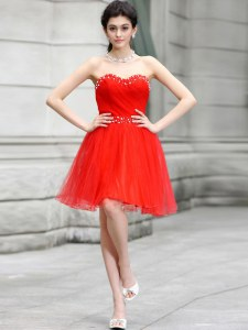 Dramatic Beading Cocktail Dresses Coral Red Zipper Sleeveless Knee Length