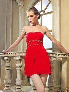 Beading Prom Evening Gown Red Lace Up Sleeveless Mini Length