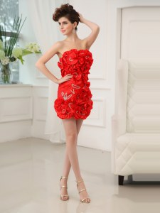 Strapless Sleeveless Cocktail Dress Mini Length Beading and Hand Made Flower Red Chiffon
