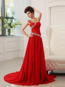 One Shoulder With Train Red Prom Dress Chiffon Sweep Train Sleeveless Beading and Ruching