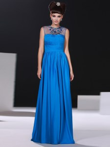 New Style Scoop Sleeveless Silk Like Satin Prom Dress Beading and Ruching Zipper