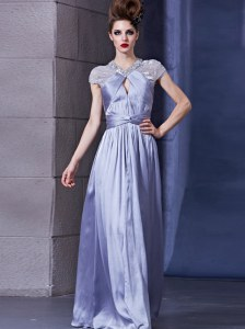 Lavender Chiffon Zipper Halter Top Sleeveless Floor Length Prom Dress Beading and Ruching