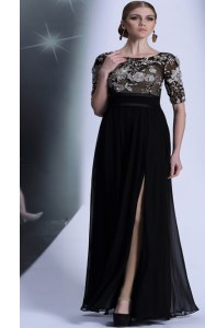 Black Evening Dress Prom and Party and For with Beading and Appliques Scoop Half Sleeves Zipper