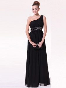 Cute Black Prom Evening Gown Prom and Party and For with Beading One Shoulder Sleeveless Side Zipper