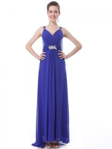Spectacular Blue Straps Neckline Beading and Ruching Prom Dresses Sleeveless Side Zipper