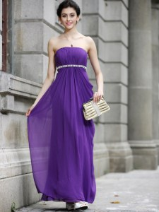 Hot Sale Sleeveless Chiffon Ankle Length Zipper Evening Dress in Purple with Beading