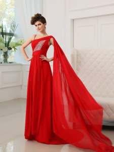 Customized One Shoulder Sleeveless Chiffon With Train Court Train Zipper Homecoming Dress in Red with Beading and Ruching