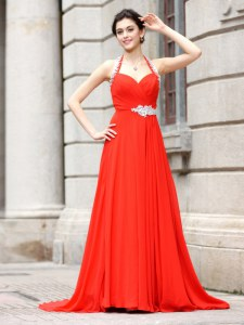 Sophisticated Coral Red Column/Sheath Spaghetti Straps Sleeveless Chiffon Brush Train Zipper Beading Prom Dress