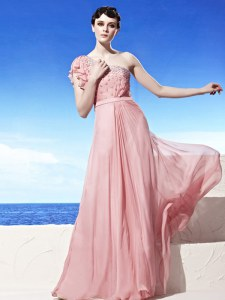 Modern One Shoulder Pink Sleeveless Floor Length Beading Side Zipper Homecoming Dress