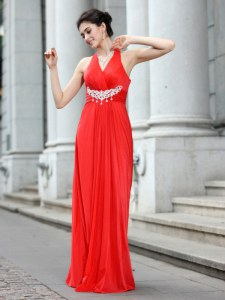 Perfect Sleeveless Floor Length Beading Zipper Homecoming Dress with Coral Red