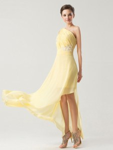 Light Yellow Column/Sheath Chiffon One Shoulder Sleeveless Beading and Ruching Ankle Length Side Zipper Prom Dresses