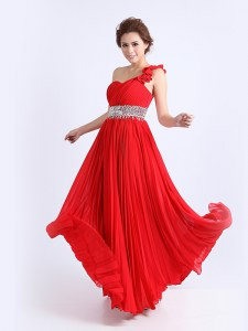 Pleated Column/Sheath Prom Dress Red One Shoulder Chiffon Sleeveless Floor Length Zipper